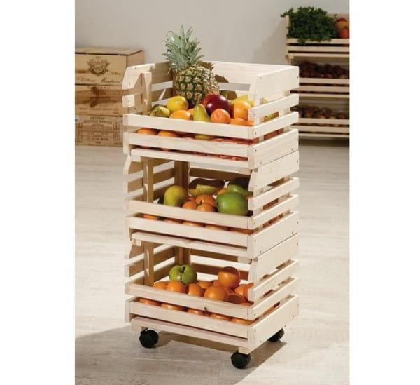 Früchtekorb mit Rollen Medium - massiv Holz