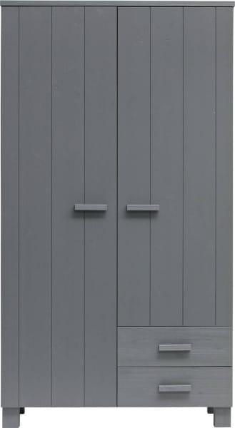 Schrank Dennis 2 Türen 2 Schubladen Kiefer stahlgrau (FSC)