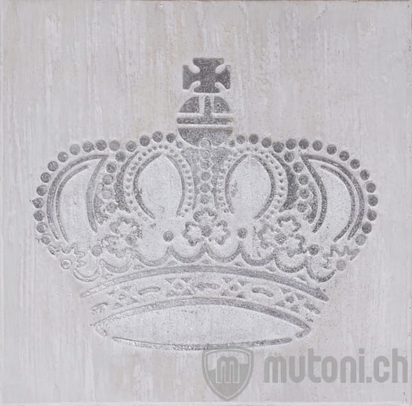 Wandbild Krone silber handgefertigt 60x60