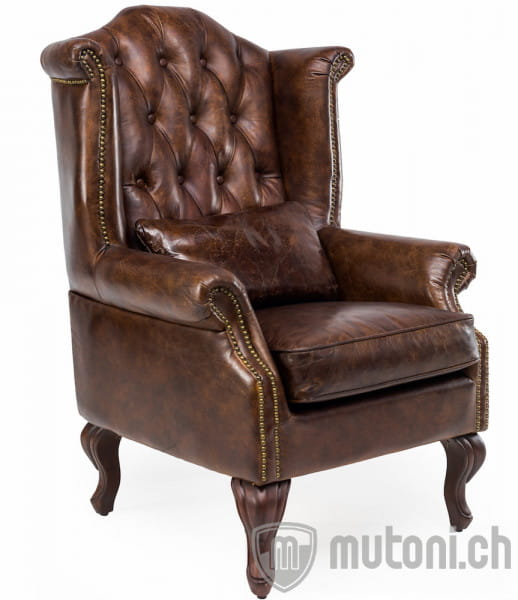 Ohrensessel Chesterfield Vintage Leder Crewe