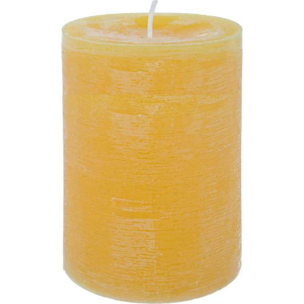 Stumpenkerze Marble gelb 10x14