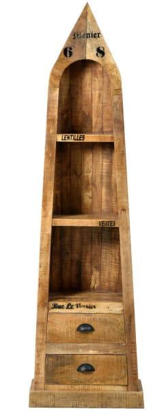 Bootsregal Vintage Natural Wood natur antik schwarz 55x190