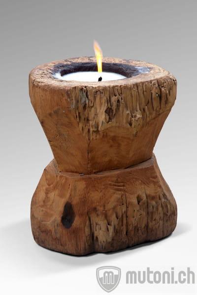 Kerze im Holzstamm 32x55