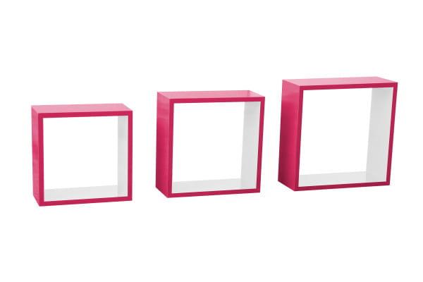 Wandregal Cube pink-weiss