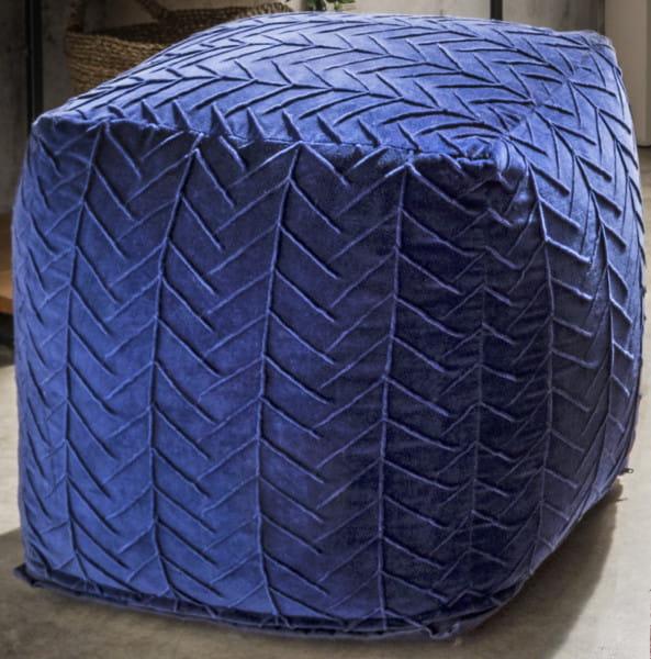 Sitzwürfel Michelle Samt dunkelblau 45x45