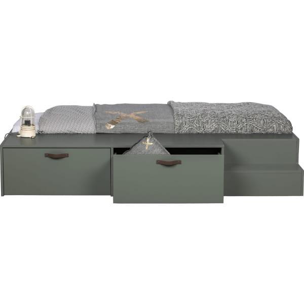 Bett Stage mit Schubladen Kiefer massiv seifengrün 80x200
